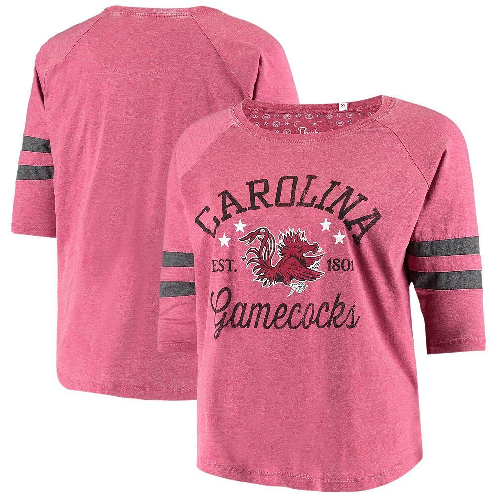 Women's Pressbox Heathered Garnet South Carolina Gamecocks Plus Size Jade Vintage Washed 3/4-Sleeve Jersey T-Shirt