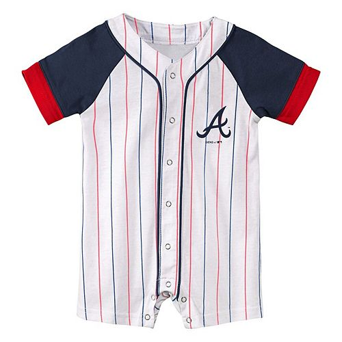 Newborn & Infant White/Navy Atlanta Braves Little Slugger Striped Romper