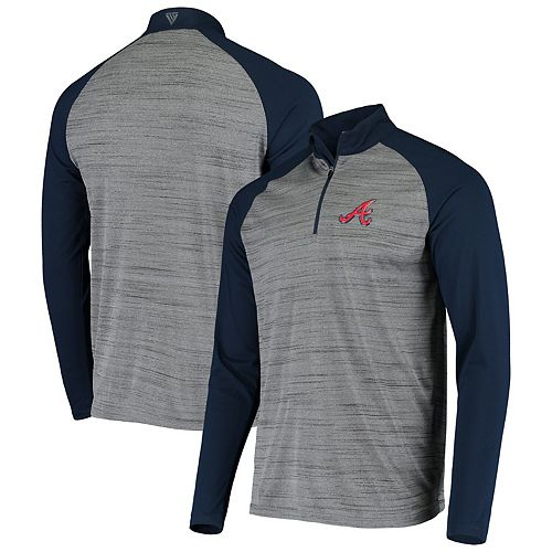 Men's Levelwear Gray/Navy Atlanta Braves Vandal Raglan Quarter-Zip Pullover Jacket
