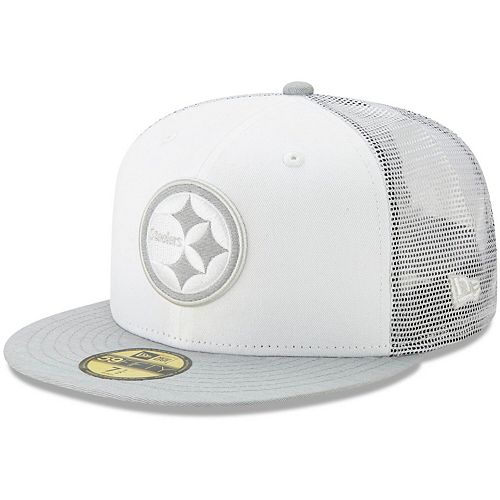 Men's New Era White/Heathered Gray Pittsburgh Steelers White Cloud 59FIFTY Fitted Hat