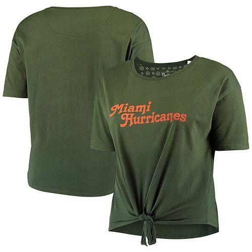 Women's Plus Size Pressbox Green Miami Hurricanes California Dreamin' Ombre Tie T-Shirt
