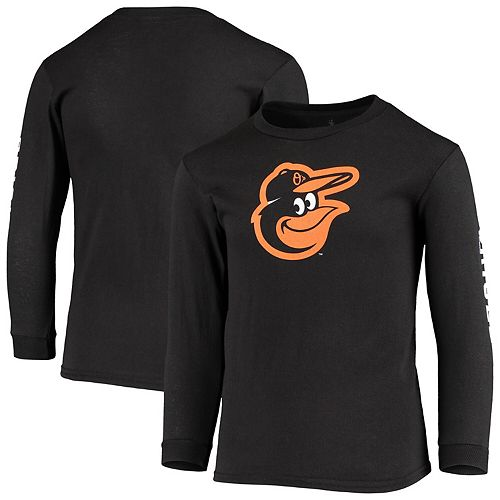 Youth Soft as a Grape Black Baltimore Orioles Logo Sleeve Hit Long Sleeve T-Shirt