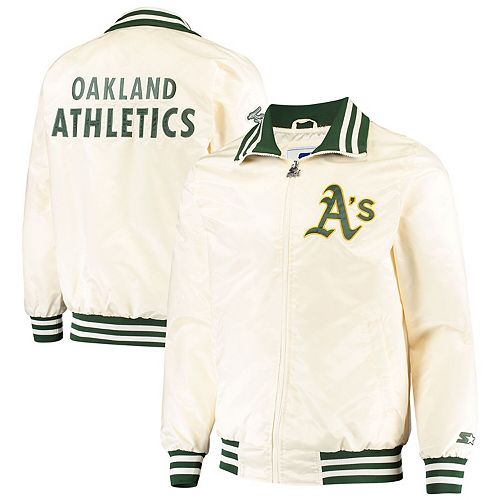 Men's Starter Cream Oakland Athletics The Captain II Full-Zip Jacket