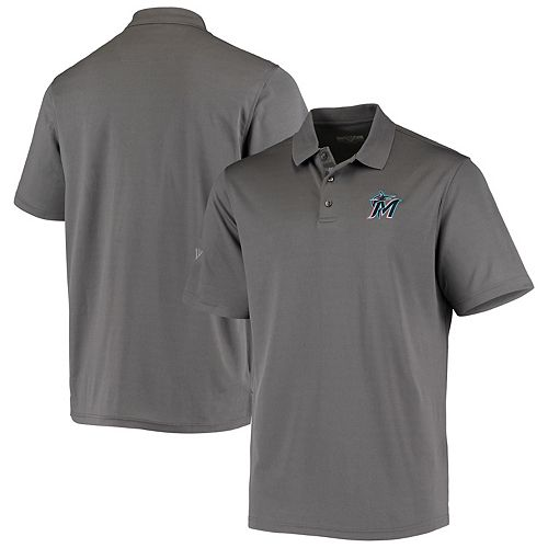 Men's Levelwear Charcoal Miami Marlins Omaha 2-Hit Polo
