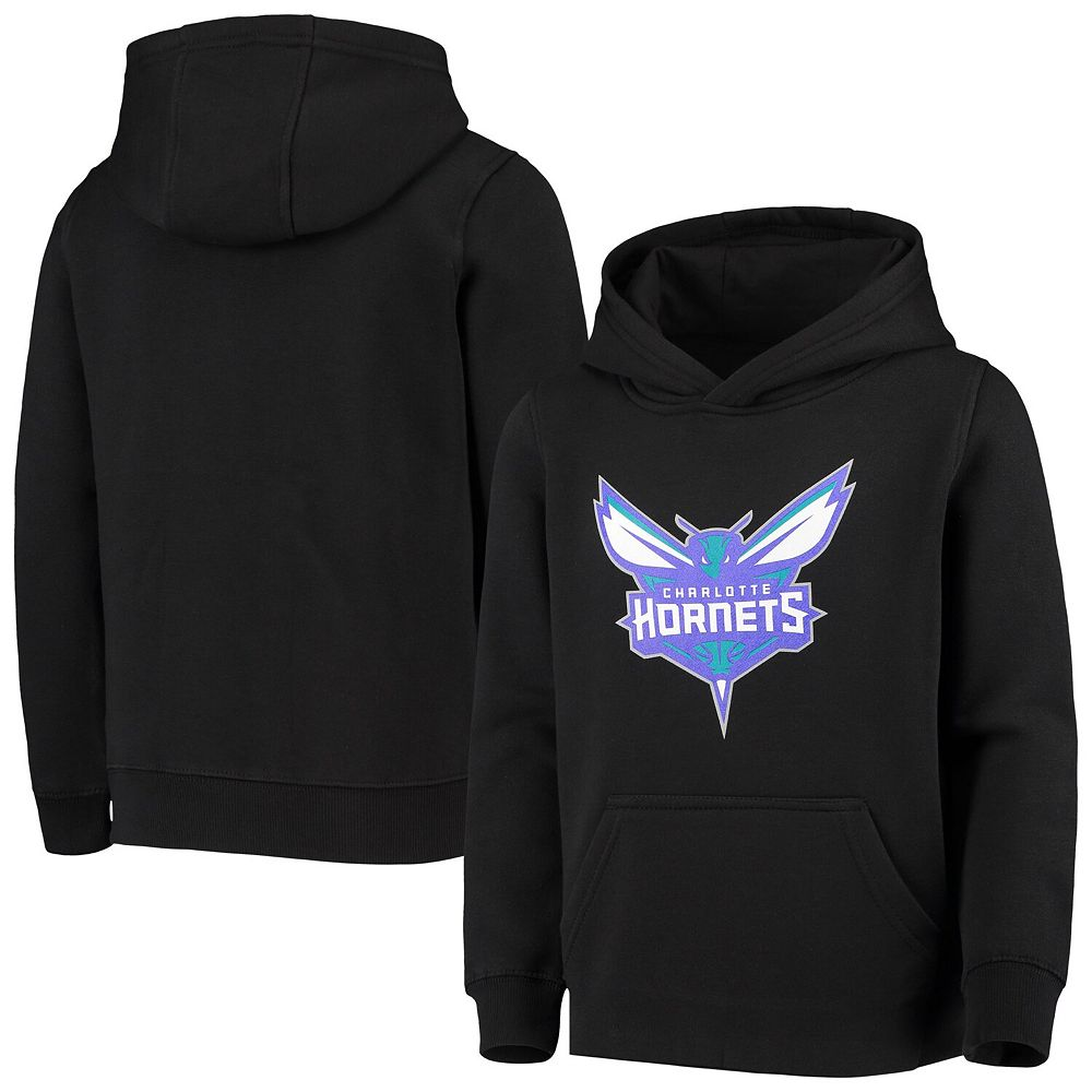 Youth Black Charlotte Hornets Primary Logo Fleece Pullover Hoodie