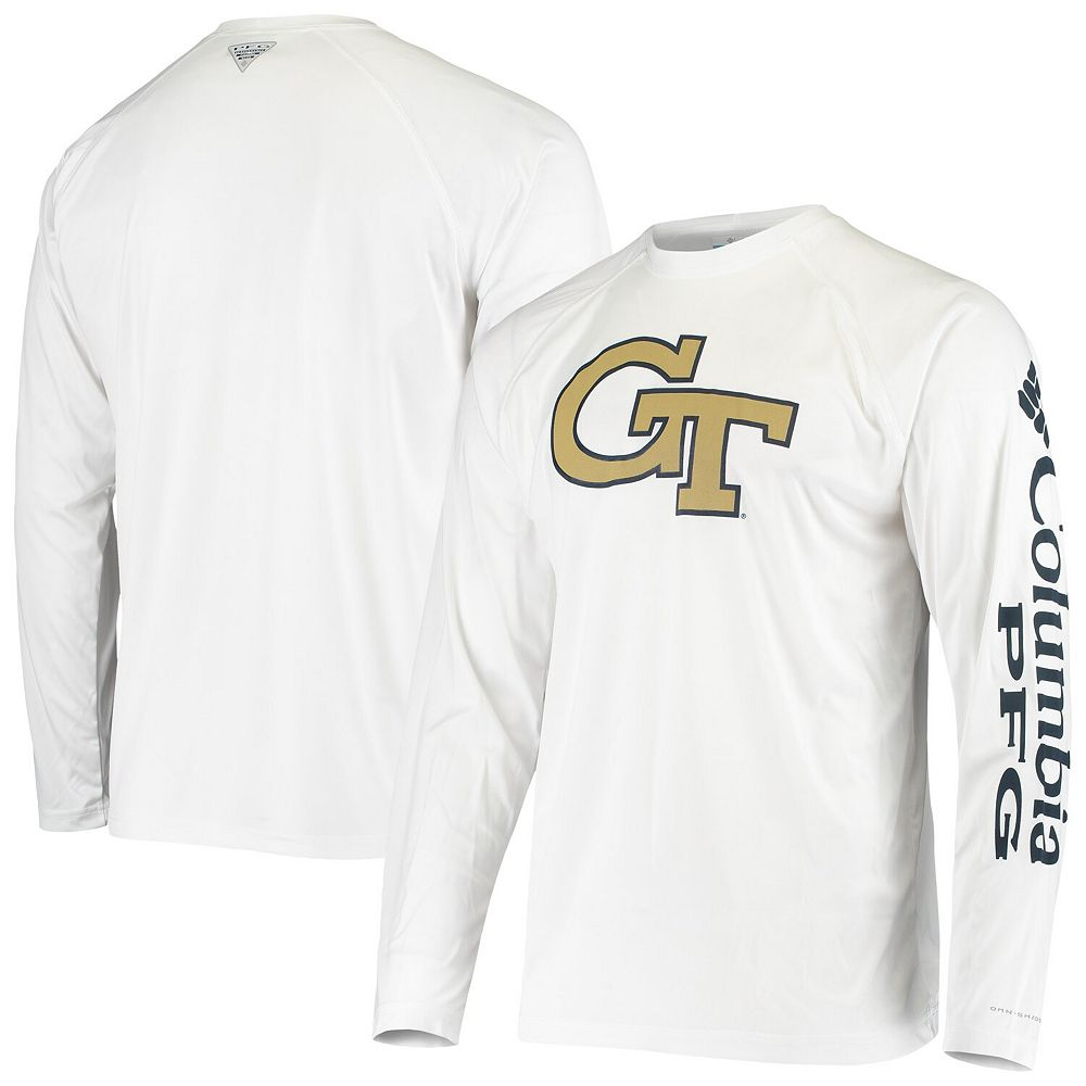 Men's Columbia White Georgia Tech Yellow Jackets Terminal Tackle Omni-Shade Raglan Long Sleeve T-Shirt