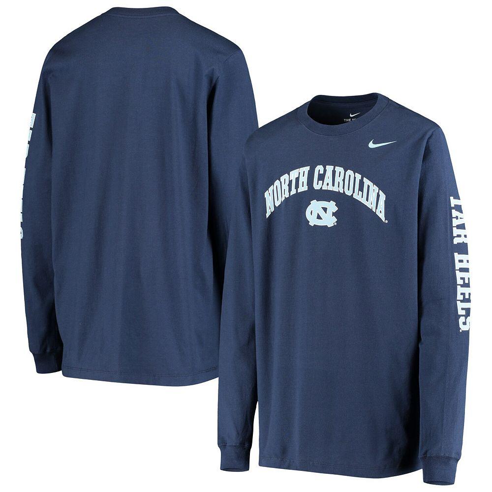 Youth Nike Navy North Carolina Tar Heels Arch & Logo 2-Hit Long Sleeve T-Shirt