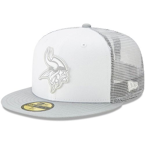 Men's New Era White/Heathered Gray Minnesota Vikings White Cloud 59FIFTY Fitted Hat