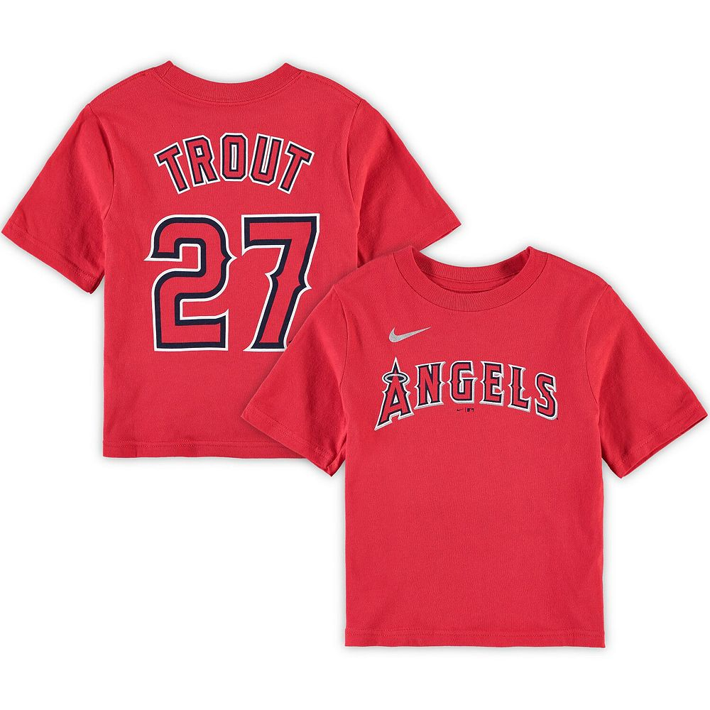 Preschool Nike Mike Trout Red Los Angeles Angels Player Name & Number T-Shirt
