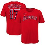 Youth Nike Shohei Ohtani Red Los Angeles Angels Player Name & Number T-Shirt