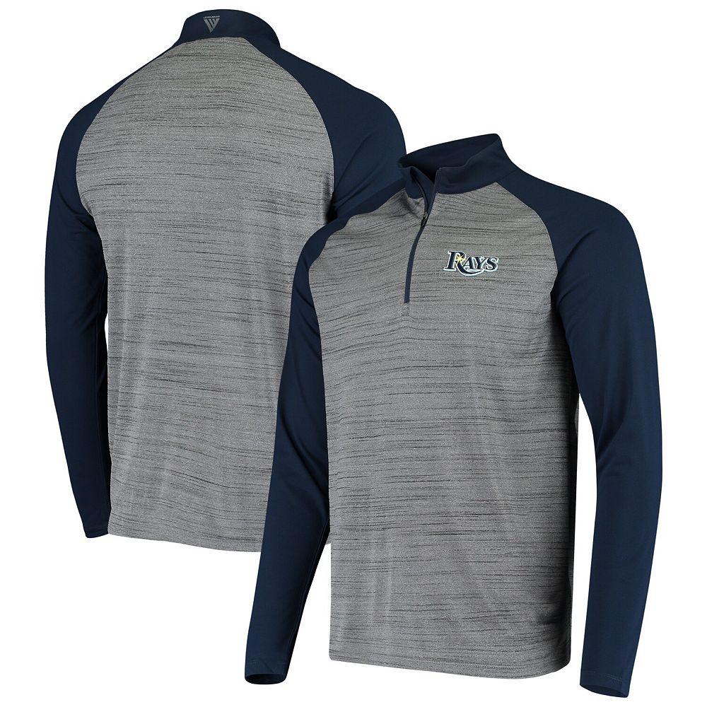 Men's Levelwear Gray/Navy Tampa Bay Rays Vandal Raglan Quarter-Zip Pullover Jacket