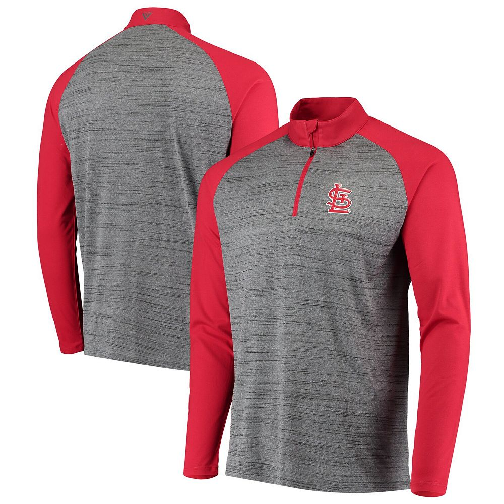 Men's Levelwear Gray/Red St. Louis Cardinals Vandal Raglan Quarter-Zip Pullover Jacket