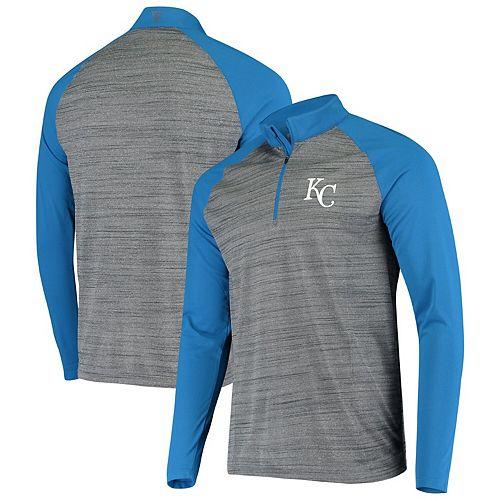 Men's Levelwear Gray/Royal Kansas City Royals Vandal Raglan Quarter-Zip Pullover Jacket