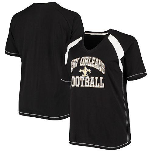 Women's Majestic Black/White New Orleans Saints Plus Size Pieced V-Neck Raglan T-Shirt