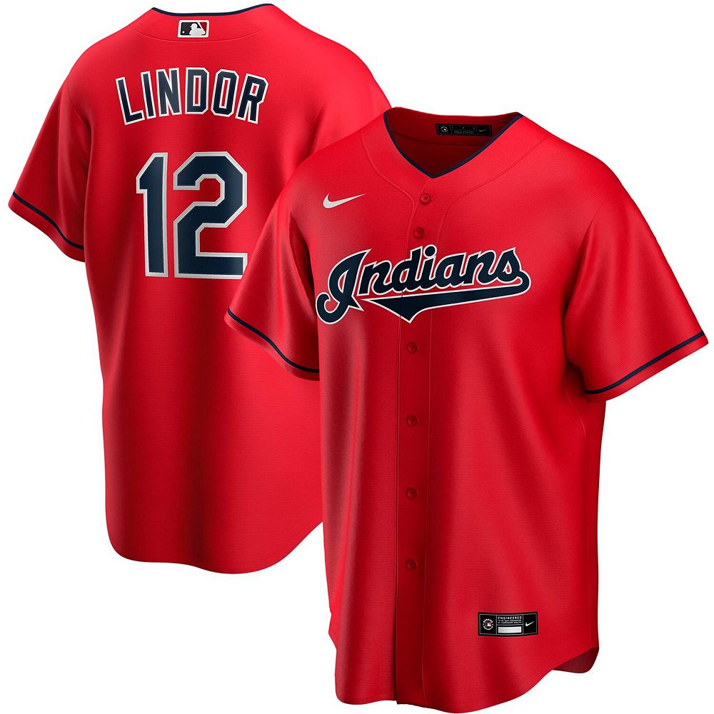 Men's Nike Francisco Lindor Red Cleveland Indians Alternate 2020 Replica Player Jersey