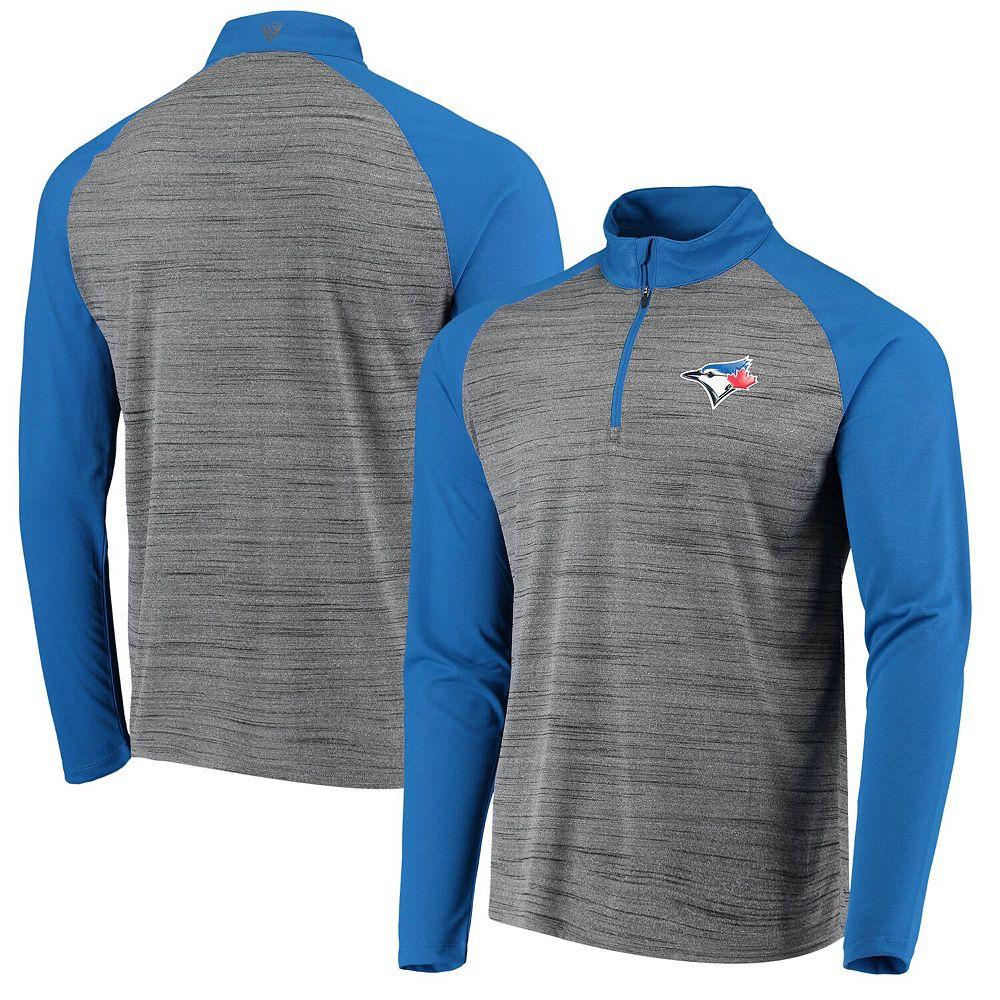 Men's Levelwear Gray/Royal Toronto Blue Jays Vandal Raglan Quarter-Zip Pullover Jacket