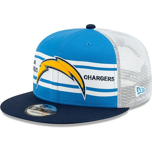 Men's New Era Powder Blue/Navy Los Angeles Chargers Classic 77 Stripe Mesh 9FIFTY Snapback Adjustable Hat