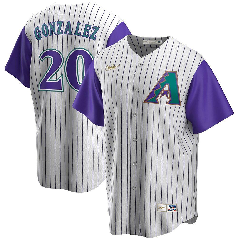 Men's Nike Luis Gonzalez Cream/Purple Arizona Diamondbacks Alternate Cooperstown Collection Player Jersey
