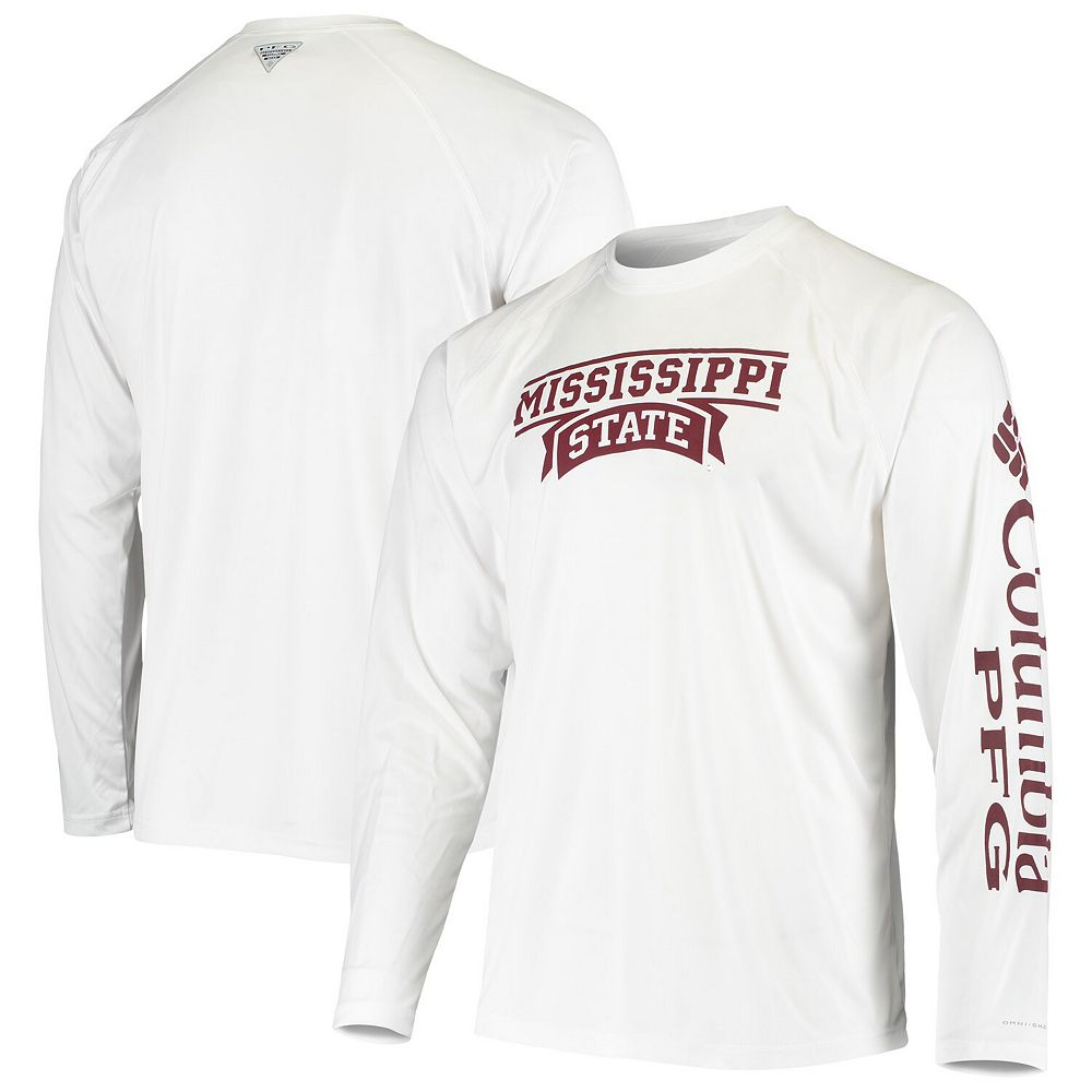 Men's Columbia White Mississippi State Bulldogs Terminal Tackle Omni-Shade Raglan Long Sleeve T-Shirt