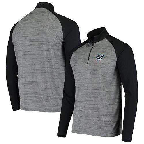 Men's Levelwear Gray/Black Miami Marlins Vandal Raglan Quarter-Zip Pullover Jacket