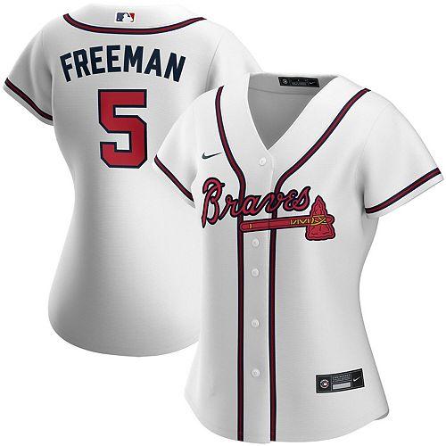 Women's Nike Freddie Freeman White Atlanta Braves Home 2020 Replica Player Jersey