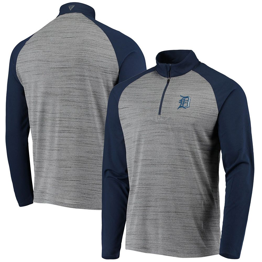 Men's Levelwear Gray/Navy Detroit Tigers Vandal Raglan Quarter-Zip Pullover Jacket