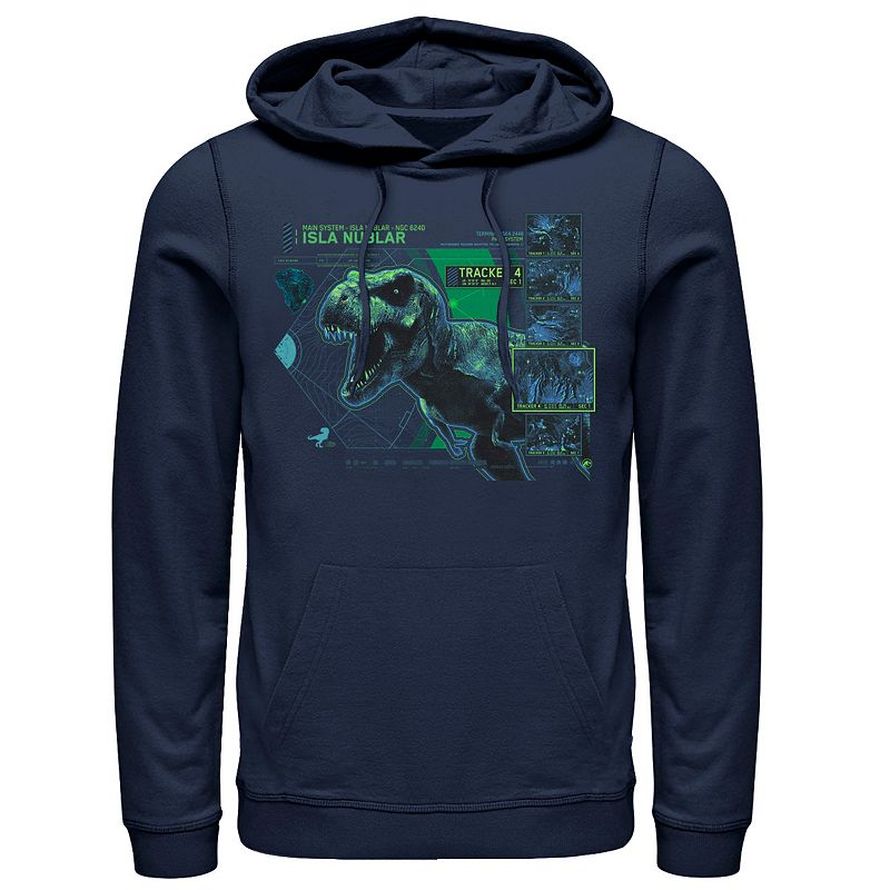 Men's Jurassic World T Rex Isla Nublar Tacker Hoodie, Size: Large, Blue