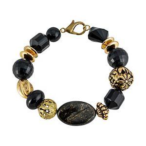 1928 Gold Tone & Black Beaded Bracelet