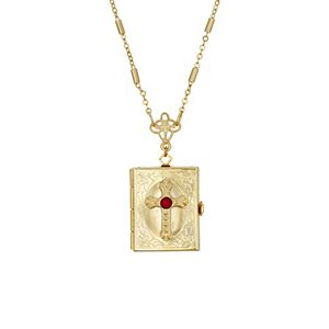 1928 Gold Tone Cross Square 4-Way Locket Necklace