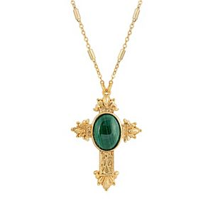1928 Gold Tone Green Malachite Cross Necklace