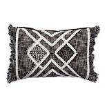 Tempo Home Nisha Textured Black Oblong Throw Pillow