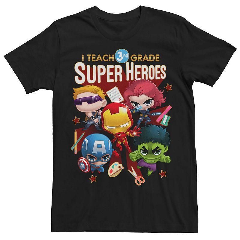 Men's Marvel Group Shot I Teach 3rd Grade Super Heroes Tee, Size: Small, Black