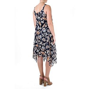 Women's Nina Leonard Floral Handkerchief-Hem Dress