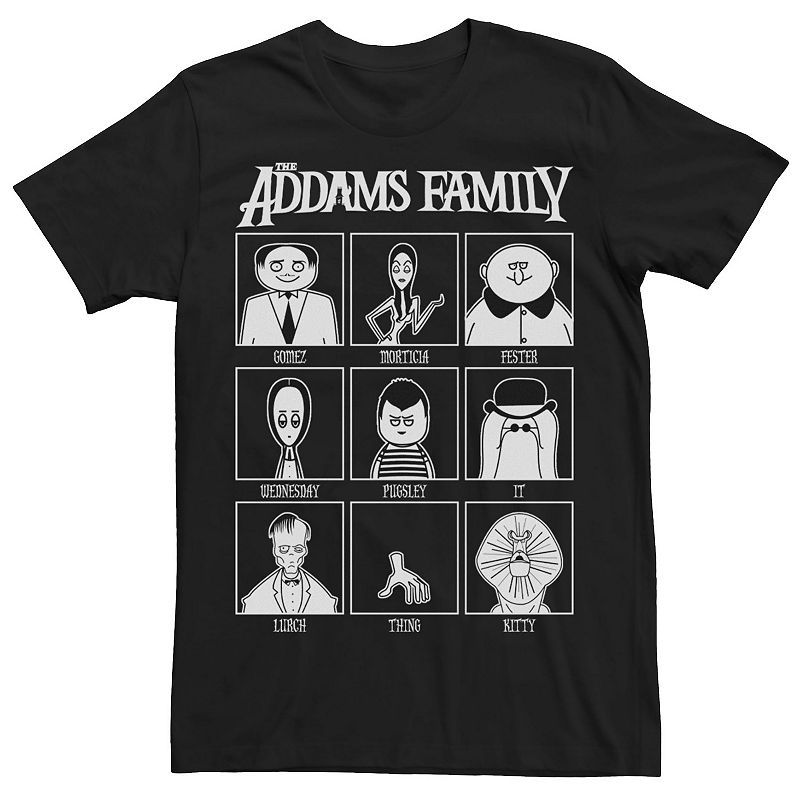 Men's The Addams Family Yearbook Tee, Size: 3XL, Black
