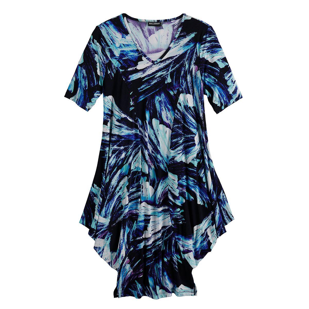 Women's Nina Leonard Print Draped Tunic Dress Light Rouge Multi WheTg