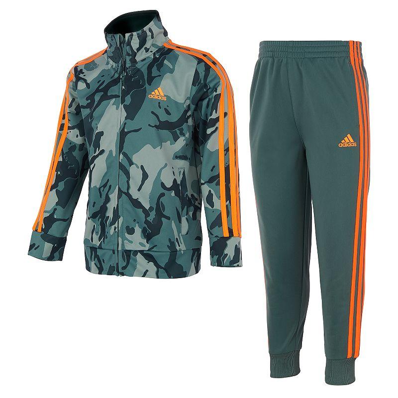 Boys 4-7 adidas Camo Tricot Zip Track Jacket & Jogger Pants Set, Boy's, Green
