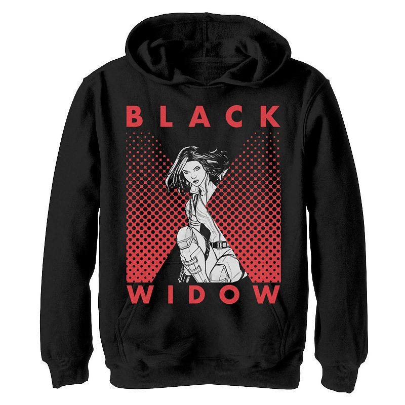 Boys 8-20 Marvel Black Widow Halftone Portrait Logo Graphic Fleece Pullover, Boy's, Size: Medium