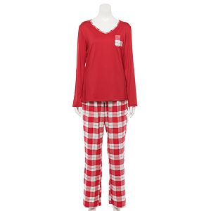 Women's Croft & Barrow® Long Sleeve Knit Pajama Shirt & Flannel Pajama Pants Set