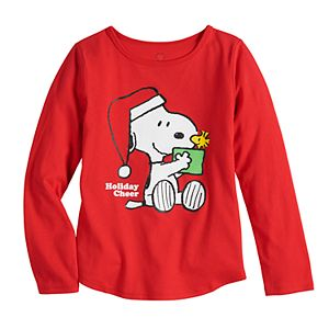 Girls 4-6x Family Fun? Peanuts Snoopy & Woodstock Christmas Graphic Tee