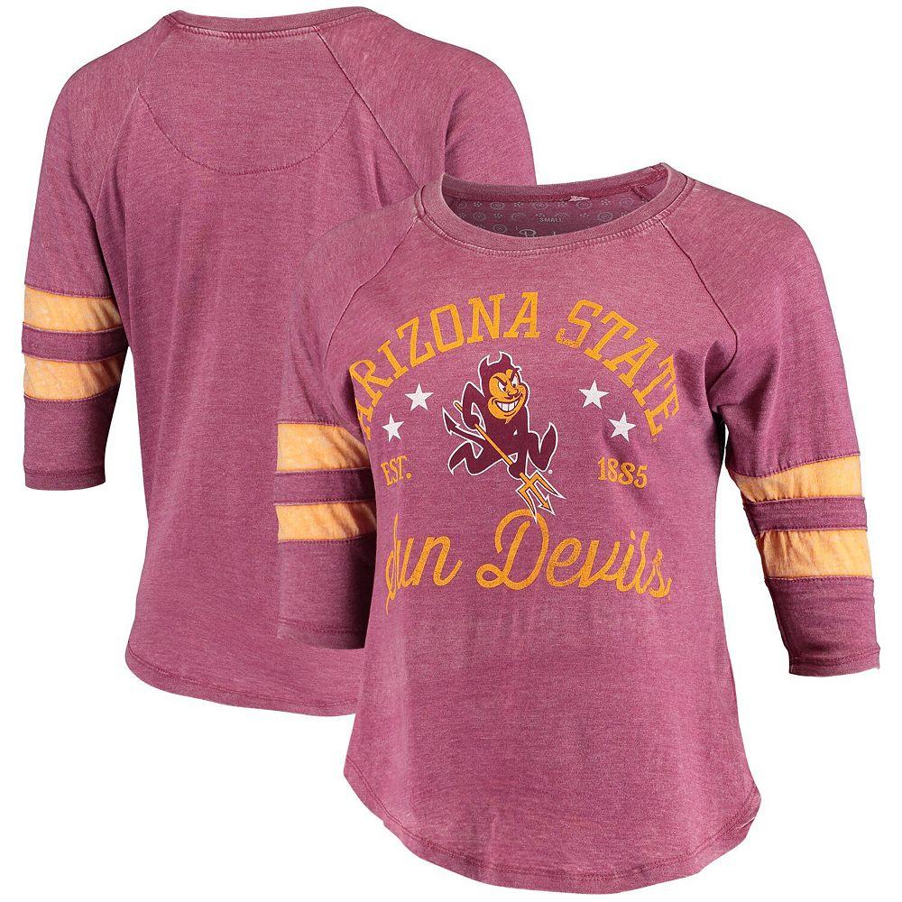 Women's Pressbox Maroon/Gold Arizona State Sun Devils Jade Vintage Washed 3/4-Sleeve Jersey T-Shirt
