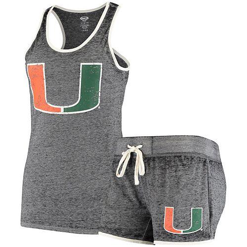 Women's Concepts Sport Charcoal Miami Hurricanes Loyalty Racerback Tank Top & Shorts Sleep Set