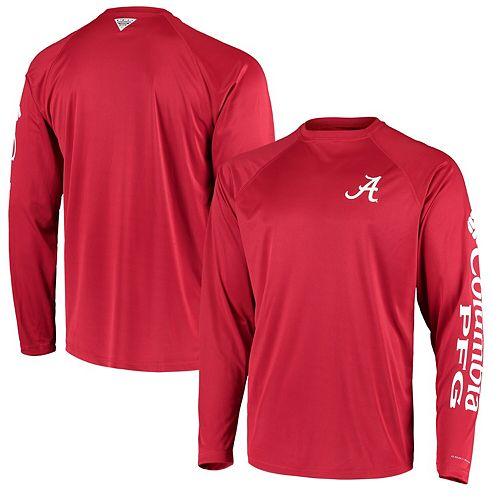 Men's Columbia PFG Crimson Alabama Crimson Tide Terminal Tackle Omni-Shade Long Sleeve T-Shirt
