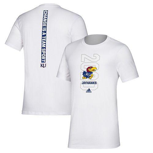 Men's adidas White Kansas Jayhawks Basketball Bench T-Shirt