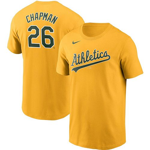 Men's Nike Matt Chapman Gold Oakland Athletics Name & Number T-Shirt