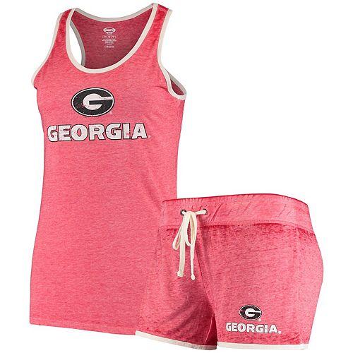 Women's Concepts Sport Red Georgia Bulldogs Loyalty Racerback Tank Top & Shorts Sleep Set
