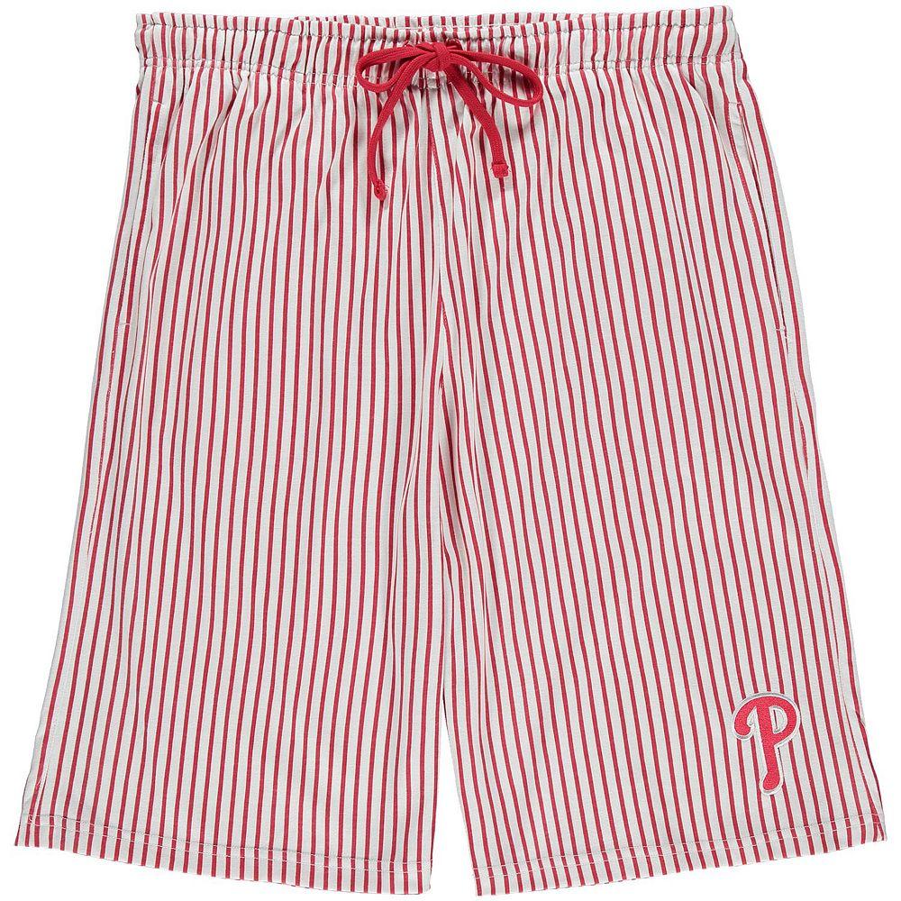 Men's White/Scarlet Philadelphia Phillies Big & Tall Pinstripe Shorts