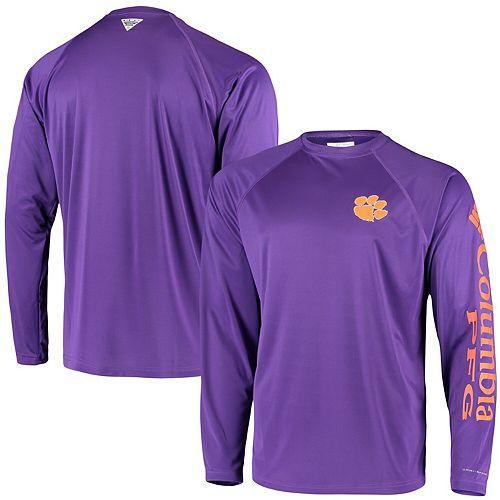 Men's Columbia PFG Purple Clemson Tigers Terminal Tackle Omni-Shade Long Sleeve T-Shirt