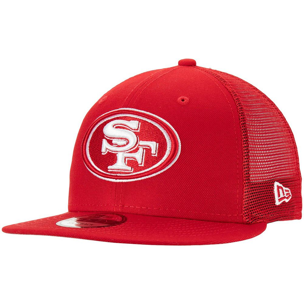 Men's New Era Scarlet San Francisco 49ers Tonal Trucker 9FIFTY Snapback Adjustable Hat