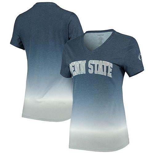 Women's Navy Penn State Nittany Lions Ombre V-Neck T-Shirt