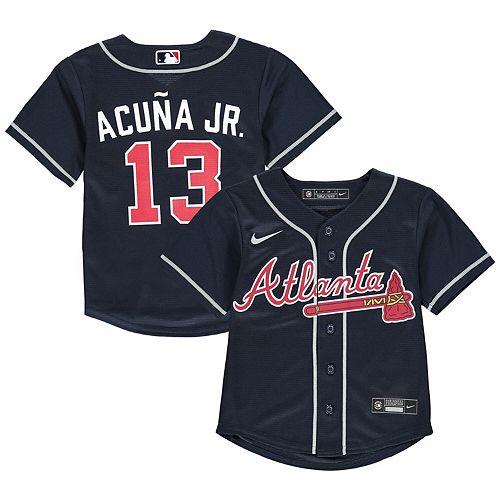 Preschool Nike Ronald Acuna Jr. Navy Atlanta Braves Alternate 2020 Replica Player Jersey
